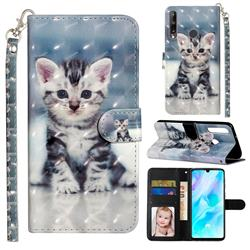 Kitten Cat 3D Leather Phone Holster Wallet Case for Huawei Y7p