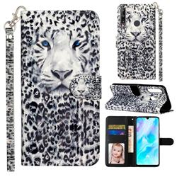 White Leopard 3D Leather Phone Holster Wallet Case for Huawei Y7p