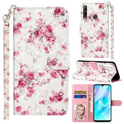 Rambler Rose Flower 3D Leather Phone Holster Wallet Case for Huawei Y7p