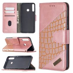 BinfenColor BF04 Color Block Stitching Crocodile Leather Case Cover for Huawei Y7p - Rose Gold