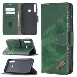 BinfenColor BF04 Color Block Stitching Crocodile Leather Case Cover for Huawei Y7p - Green