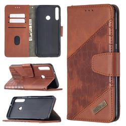 BinfenColor BF04 Color Block Stitching Crocodile Leather Case Cover for Huawei Y7p - Brown