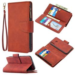 Binfen Color BF02 Sensory Buckle Zipper Multifunction Leather Phone Wallet for Huawei Y7p - Brown
