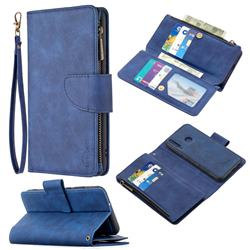 Binfen Color BF02 Sensory Buckle Zipper Multifunction Leather Phone Wallet for Huawei Y7p - Blue