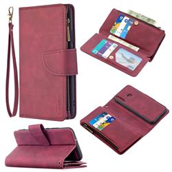 Binfen Color BF02 Sensory Buckle Zipper Multifunction Leather Phone Wallet for Huawei Y7p - Red Wine