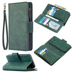 Binfen Color BF02 Sensory Buckle Zipper Multifunction Leather Phone Wallet for Huawei Y7p - Dark Green
