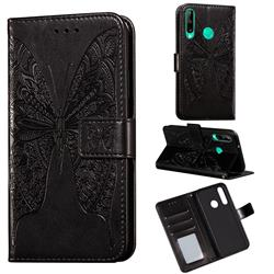 Intricate Embossing Vivid Butterfly Leather Wallet Case for Huawei Y7p - Black