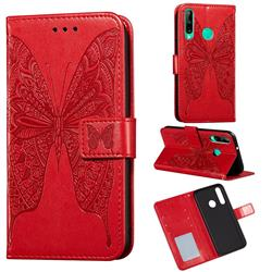 Intricate Embossing Vivid Butterfly Leather Wallet Case for Huawei Y7p - Red