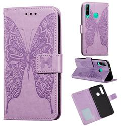 Intricate Embossing Vivid Butterfly Leather Wallet Case for Huawei Y7p - Purple