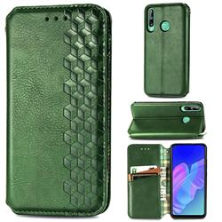 Ultra Slim Fashion Business Card Magnetic Automatic Suction Leather Flip Cover for Huawei Y7p - Green