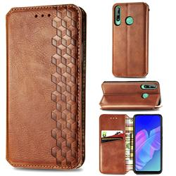 Ultra Slim Fashion Business Card Magnetic Automatic Suction Leather Flip Cover for Huawei Y7p - Brown