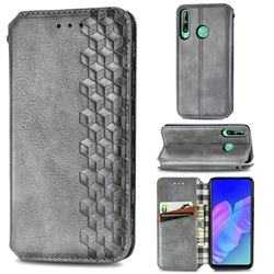 Ultra Slim Fashion Business Card Magnetic Automatic Suction Leather Flip Cover for Huawei Y7p - Grey
