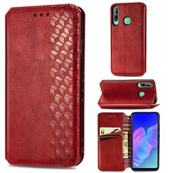 Ultra Slim Fashion Business Card Magnetic Automatic Suction Leather Flip Cover for Huawei Y7p - Red