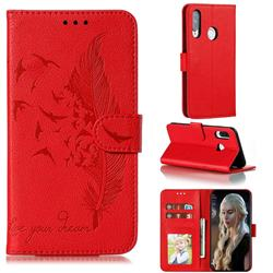 Intricate Embossing Lychee Feather Bird Leather Wallet Case for Huawei Y7p - Red