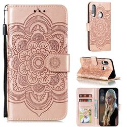 Intricate Embossing Datura Solar Leather Wallet Case for Huawei Y7p - Rose Gold