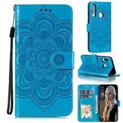 Intricate Embossing Datura Solar Leather Wallet Case for Huawei Y7p - Blue