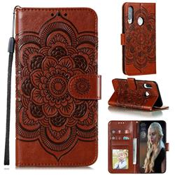 Intricate Embossing Datura Solar Leather Wallet Case for Huawei Y7p - Brown