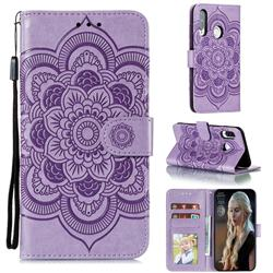Intricate Embossing Datura Solar Leather Wallet Case for Huawei Y7p - Purple
