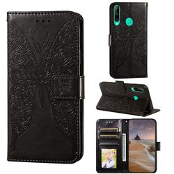 Intricate Embossing Rose Flower Butterfly Leather Wallet Case for Huawei Y7p - Black