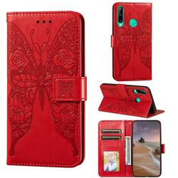 Intricate Embossing Rose Flower Butterfly Leather Wallet Case for Huawei Y7p - Red