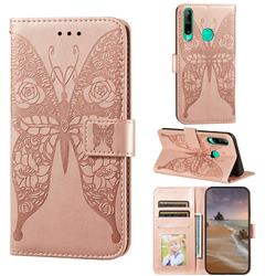 Intricate Embossing Rose Flower Butterfly Leather Wallet Case for Huawei Y7p - Rose Gold