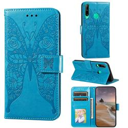 Intricate Embossing Rose Flower Butterfly Leather Wallet Case for Huawei Y7p - Blue
