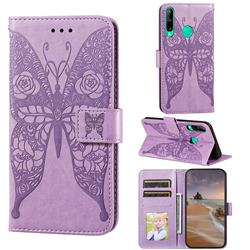 Intricate Embossing Rose Flower Butterfly Leather Wallet Case for Huawei Y7p - Purple