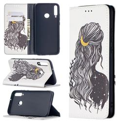 Girl with Long Hair Slim Magnetic Attraction Wallet Flip Cover for Huawei Y7p