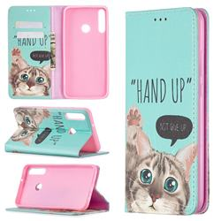 Hand Up Cat Slim Magnetic Attraction Wallet Flip Cover for Huawei Y7p