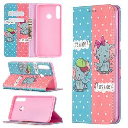 Elephant Boy and Girl Slim Magnetic Attraction Wallet Flip Cover for Huawei Y7p