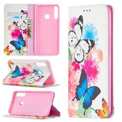Flying Butterflies Slim Magnetic Attraction Wallet Flip Cover for Huawei Y7p
