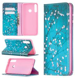 Plum Blossom Slim Magnetic Attraction Wallet Flip Cover for Huawei Y7p