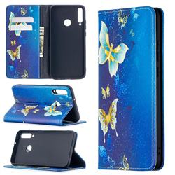 Gold Butterfly Slim Magnetic Attraction Wallet Flip Cover for Huawei Y7p