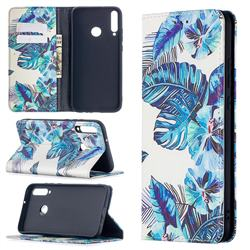 Blue Leaf Slim Magnetic Attraction Wallet Flip Cover for Huawei Y7p
