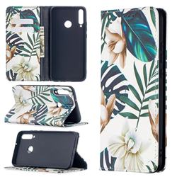 Flower Leaf Slim Magnetic Attraction Wallet Flip Cover for Huawei Y7p