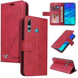 GQ.UTROBE Right Angle Silver Pendant Leather Wallet Phone Case for Huawei Y7p - Red