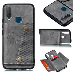 Retro Multifunction Card Slots Stand Leather Coated Phone Back Cover for Huawei Y7p - Gray