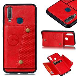 Retro Multifunction Card Slots Stand Leather Coated Phone Back Cover for Huawei Y7p - Red