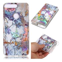 Gold Plating Marble Pattern Bright Color Laser Soft TPU Case for Huawei Y7 Pro (2018) / Y7 Prime(2018) / Nova2 Lite