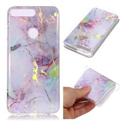 Pink Purple Marble Pattern Bright Color Laser Soft TPU Case for Huawei Y7 Pro (2018) / Y7 Prime(2018) / Nova2 Lite