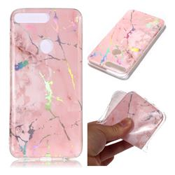 Powder Pink Marble Pattern Bright Color Laser Soft TPU Case for Huawei Y7 Pro (2018) / Y7 Prime(2018) / Nova2 Lite