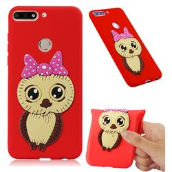 Bowknot Girl Owl Soft 3D Silicone Case for Huawei Y7 Pro (2018) / Y7 Prime(2018) / Nova2 Lite - Red