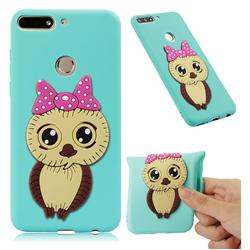 Bowknot Girl Owl Soft 3D Silicone Case for Huawei Y7 Pro (2018) / Y7 Prime(2018) / Nova2 Lite - Sky Blue