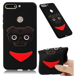 Glasses Dog Soft 3D Silicone Case for Huawei Y7 Pro (2018) / Y7 Prime(2018) / Nova2 Lite - Black