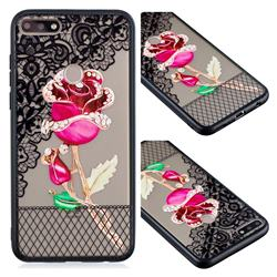 Rose Lace Diamond Flower Soft TPU Back Cover for Huawei Y7 Pro (2018) / Y7 Prime(2018) / Nova2 Lite