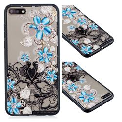 Lilac Lace Diamond Flower Soft TPU Back Cover for Huawei Y7 Pro (2018) / Y7 Prime(2018) / Nova2 Lite