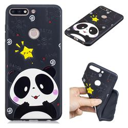 Cute Bear 3D Embossed Relief Black TPU Cell Phone Back Cover for Huawei Y7 Pro (2018) / Y7 Prime(2018) / Nova2 Lite