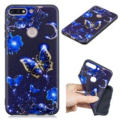 Phnom Penh Butterfly 3D Embossed Relief Black TPU Cell Phone Back Cover for Huawei Y7 Pro (2018) / Y7 Prime(2018) / Nova2 Lite