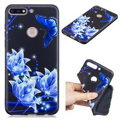 Blue Butterfly 3D Embossed Relief Black TPU Cell Phone Back Cover for Huawei Y7 Pro (2018) / Y7 Prime(2018) / Nova2 Lite