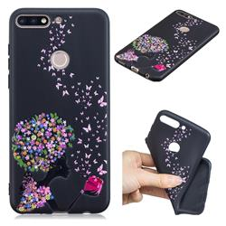 Corolla Girl 3D Embossed Relief Black TPU Cell Phone Back Cover for Huawei Y7 Pro (2018) / Y7 Prime(2018) / Nova2 Lite